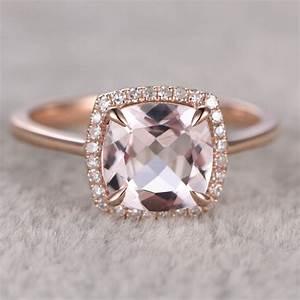 Morganite Cushion Cut Engagement Ring In 14k Rose Gold ...