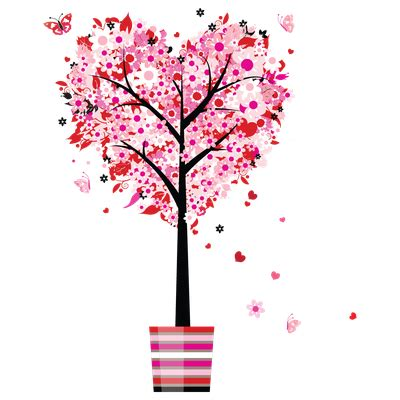 mothers day tree love heart flowers png