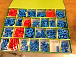 making words and letter organization With magnetic letter storage box
