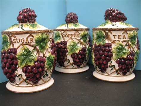 kitchen canister sets stainless steel 3 pcs 3d grape canister set kitchen decor vineyard wine