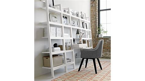 sawyer white leaning 18 quot bookcase crate and barrel