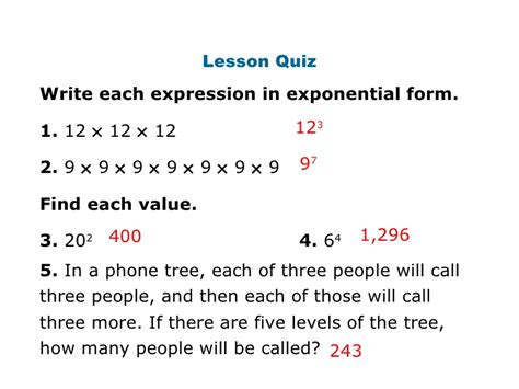 how to write an expression in exponential form math review for interim 1