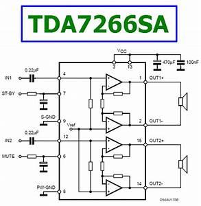 Tda7266sa Datasheet - 7w 7w Dual Bridge Amplifier