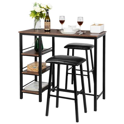 Develop a bistro feel with this black finish pub table with drop leaves and saddle stools. Zimtown 3-Piece Counter Height Dining Table Set Kitchen Dining Pub Bar Table with 2 Upholstered ...