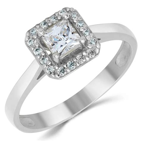 14k solid white gold cz cubic zirconia solitaire halo