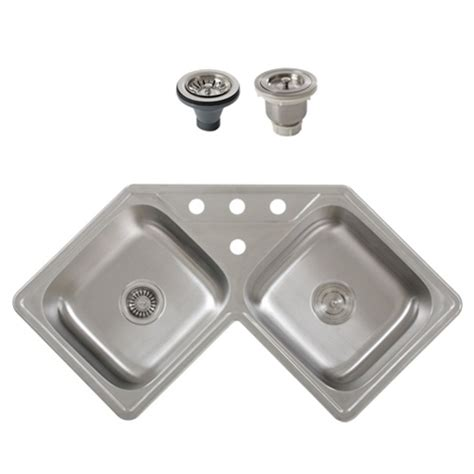 stainless steel corner sink ticor s999 corner overmount 18 gauge stainless steel