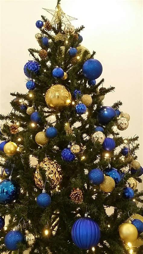 blue  gold christmas tree xmas decor christmas