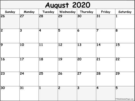 august  blank calendar templates
