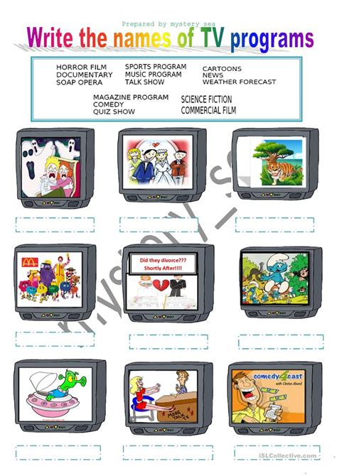 tv programs worksheet  esl printable worksheets
