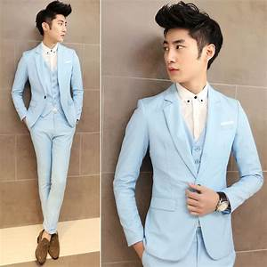 2015 korean fashion men wedding party blazers solid color ...