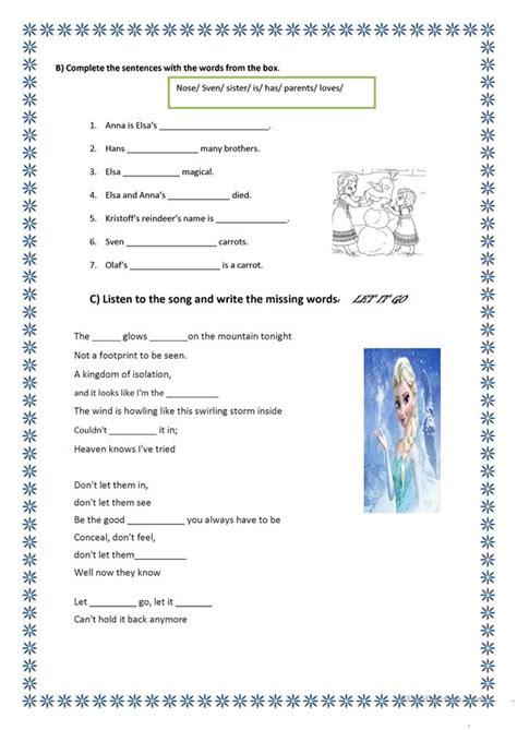 frozen worksheet worksheet  esl printable worksheets
