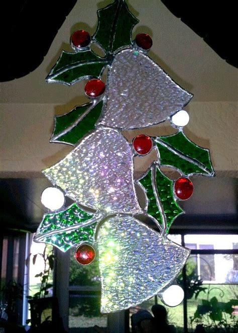 stained glass silver bells  holly christmas decoration