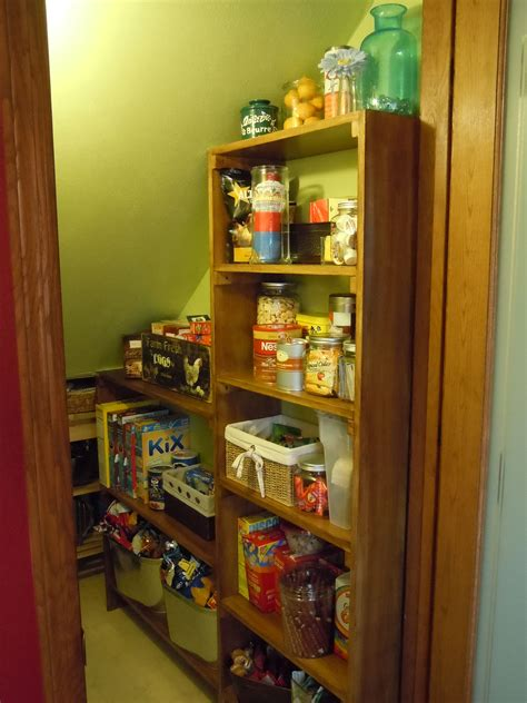 They have to be wide enough and straight forward allowing you to place a table there and some small shelves. Our freshly shelved and painted under the stairs pantry... | Home organisation, Shelves, Old ...