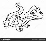 Lizard Coloring Cartoon Illustration Isolated Depositphotos sketch template