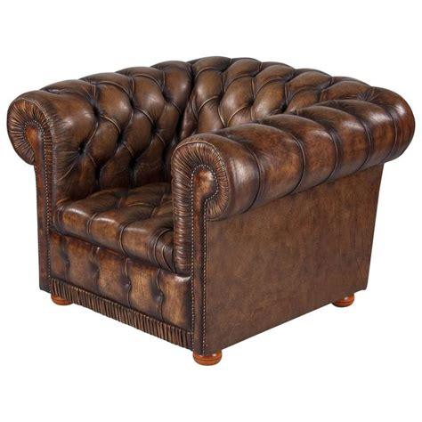 Leather Chesterfield Armchair by Vintage Chesterfield Armchair In Brown Leather