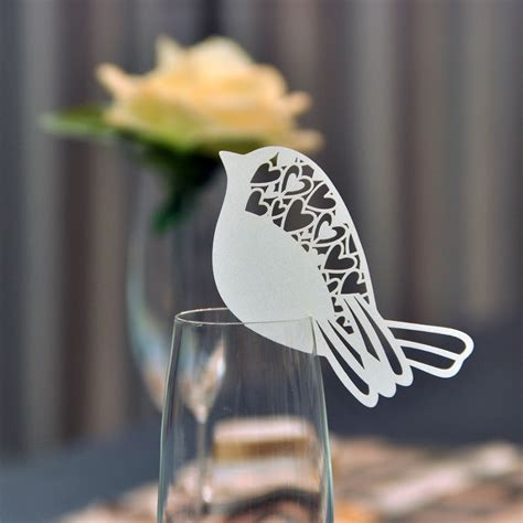 wine glass placement on table 60pcs set for white bird shaped table mark wine glass name