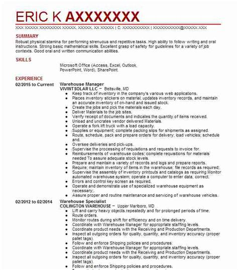 Best Warehouse Resume by Warehouse Manager Resume Sle Resumes Misc Livecareer