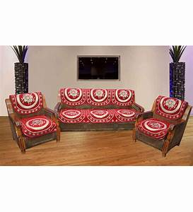 Jbg home store decorative maroon sofa cover set set of 6 for Decorative furniture covers