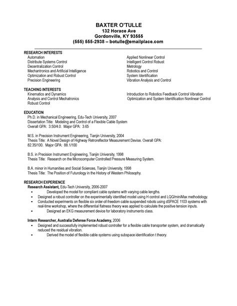 Biology Phd Resume by Curriculum Vitae Curriculum Vitae Sles Electronics Engineers