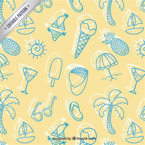 Sketchy Summer Pattern Vector  Free Download