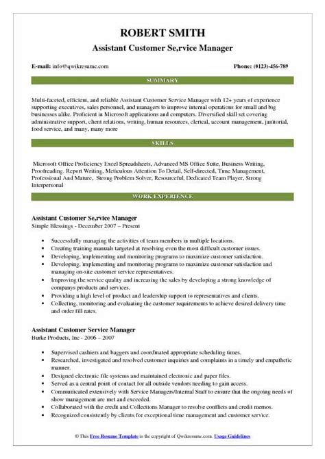 Manager Resume Exle by Assistant Customer Service Manager Resume Sles Qwikresume
