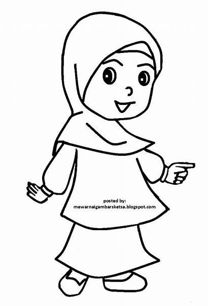 Anak Sketsa Gambar Mewarnai Muslimah Kartun Muslim
