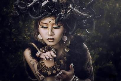 Medusa Snake Asian Lady Goth Portrait Wallpapers