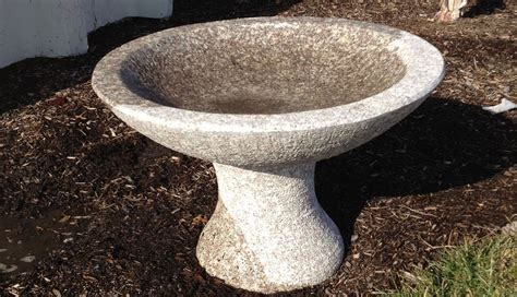 granite bird bath station landscape
