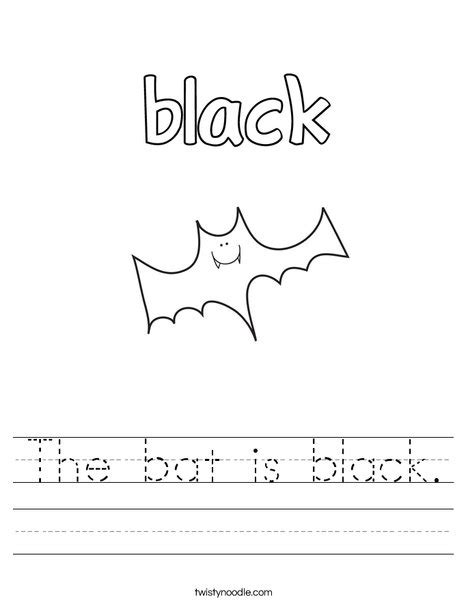 black worksheet the bat is black worksheet twisty noodle