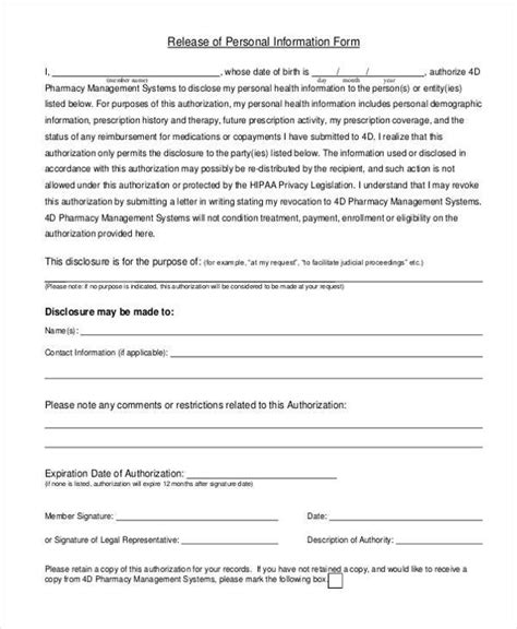 release of information form sle personal information forms 8 free documents in pdf