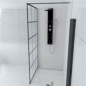 Paroi De Douche : paroi de douche fixe style industriel atelier 80 cm 140 cm ~ Melissatoandfro.com Idées de Décoration