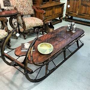 Ski country antiques designs by katy for Sled coffee table