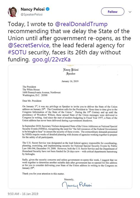 pelosi trump letter address sent union state nancy speech shutdown had president she donald speaker he dailymail delay during mail