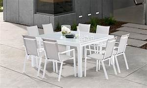 Table Carre Exterieur : table de jardin carre blanche 8 12 personnes avec rallonge ~ Teatrodelosmanantiales.com Idées de Décoration