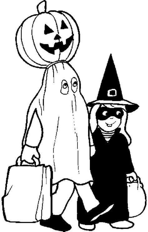 halloween trick  treating coloring pages