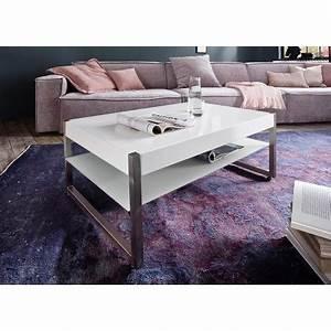 Table Basse Blanche Rectangulaire : table basse rectangulaire laqu blanc mat et verre blanc cbc meubles ~ Melissatoandfro.com Idées de Décoration