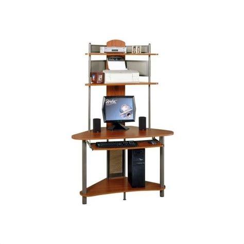 tower corner computer desk studio rta a tower corner wood w hutch pewter cherry