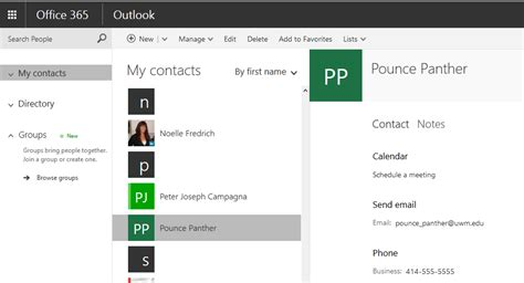 Office 365 Outlook Contacts by Office 365 Outlook On The Web Contact Overview