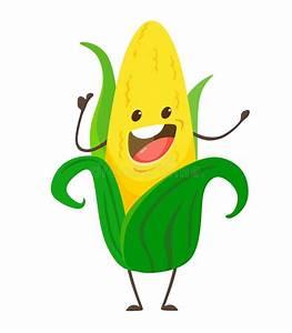 Corn. Cute Funny Corn In Cartoon Kawai Style. Vector ...