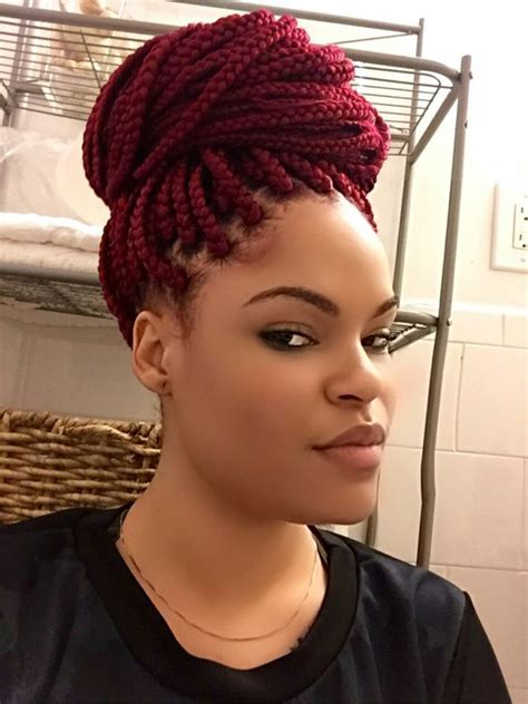 I am soo in love with my 530 red Box braids   Hair