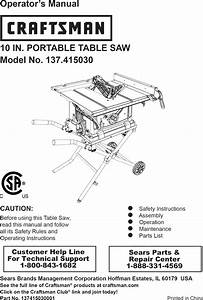 Craftsman 137415030 User Manual Table Saw Manuals And