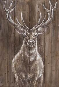Acrylfarben Auf Holz : holz wandbild hirsch handgemalt in acrylfarben wandbild xl ~ Orissabook.com Haus und Dekorationen