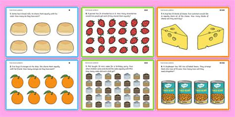 Differentiated Food Division Problems  Ks1 Maths Word Problems