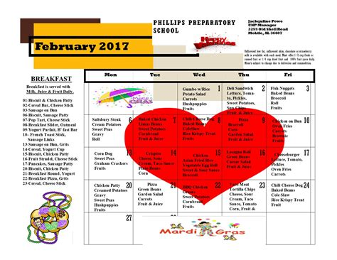 phillips preparatory school latest news february menu