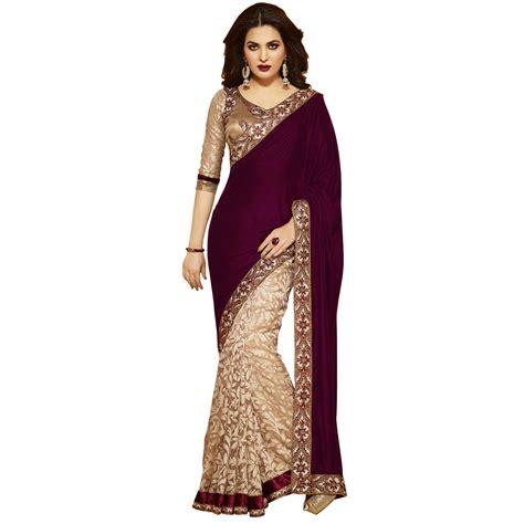 beige maroon wedding saree velvet brasso embroidery border
