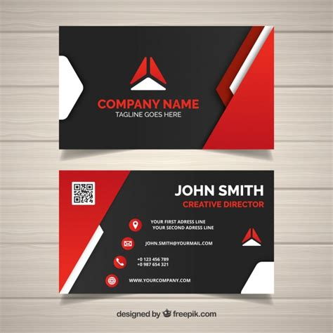Top Model Web Templates For 2017 by Modern Business Card With Red Shapes Vector Free Download