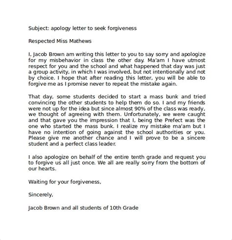 sample apology letter  teacher   documents
