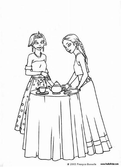 Coloring Tea Party Pages Princess Printable Boston