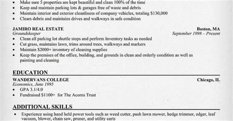 groundskeeper resume exle resumecompanion