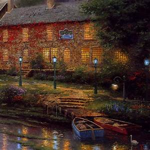 kinkade lamplight inn sn canvas hand highlighted 36 x 27 With the lamp light inn